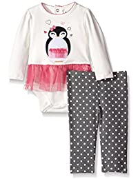 Baby-Girls Bodysuit with Tulle Skirt and Printed Dot Legging Set