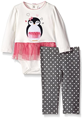 Hartstrings Baby Girls' Bodysuit with Tulle Skirt and Printed Dot Legging Set, Marshmallow 6-9 Months