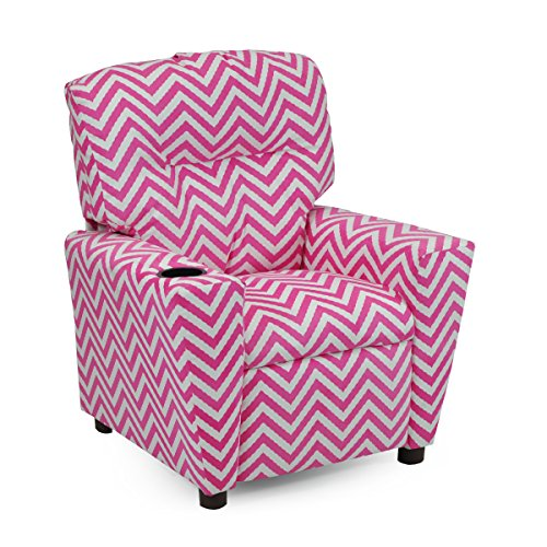 Girls Pink Chevron Recliner Chair with Cupholder - Childrens Reclining Upholstered Armchair - Child and Toddler Stuffed Chairs Seating - Kids Designer Bedroom Furniture Decor- American Made