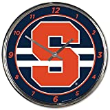 Syracuse Orange 12 inch Round Wall Clock Chrome Plated