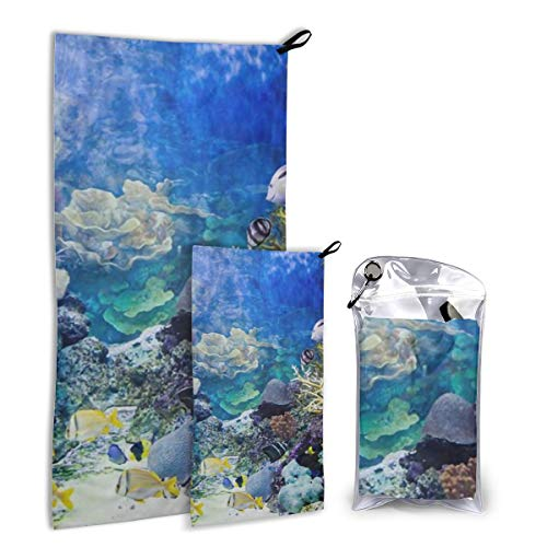 GOODJS Caribbean Reef Fish Ocean Animal (2) 2 Pcs Printed Outdoor Travel Soft Quick Drying Washcloth- Home Face Towel/Beach/Bath Towel for Bathroom/Spa with Hanging Belt -