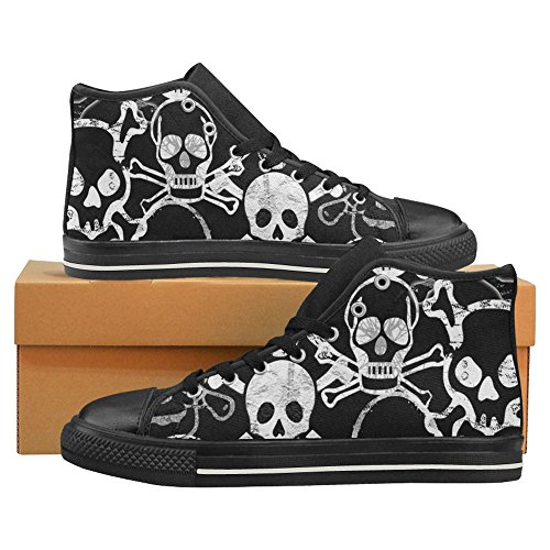 InterestPrint Womens High Top Classic Casual Canvas Fashion Shoes Trainers Lace Up Sneakers Skull dLbf88cfNo