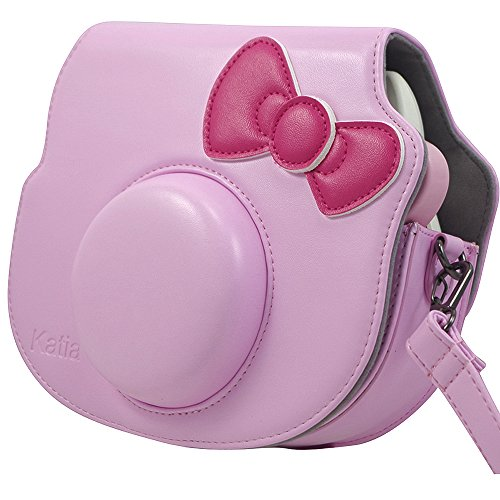 e1a42878dce9 Amazon.com   Katia PU Leather Instant Camera Case Bag With Strap and Pocket  for Fujifilm Instax Hello Kitty Instant Film Camera (Pink)   Camera   Photo