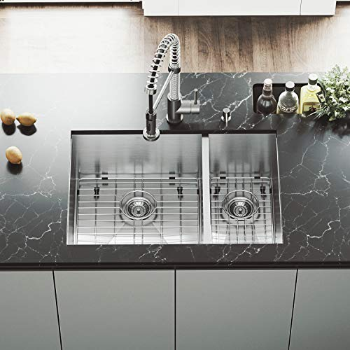 VIGO 29 inch Undermount 70/30 Double Bowl 16 Gauge Stainless Steel Kitchen Sink with Edison Stainless Steel Faucet, Two Grids, Two Strainers and Soap Dispenser