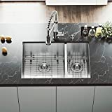 VIGO VG15176 All in One Undermount Double Bowl Kitchen Sink and Faucet Set, 29-Inch, Stainless Steel