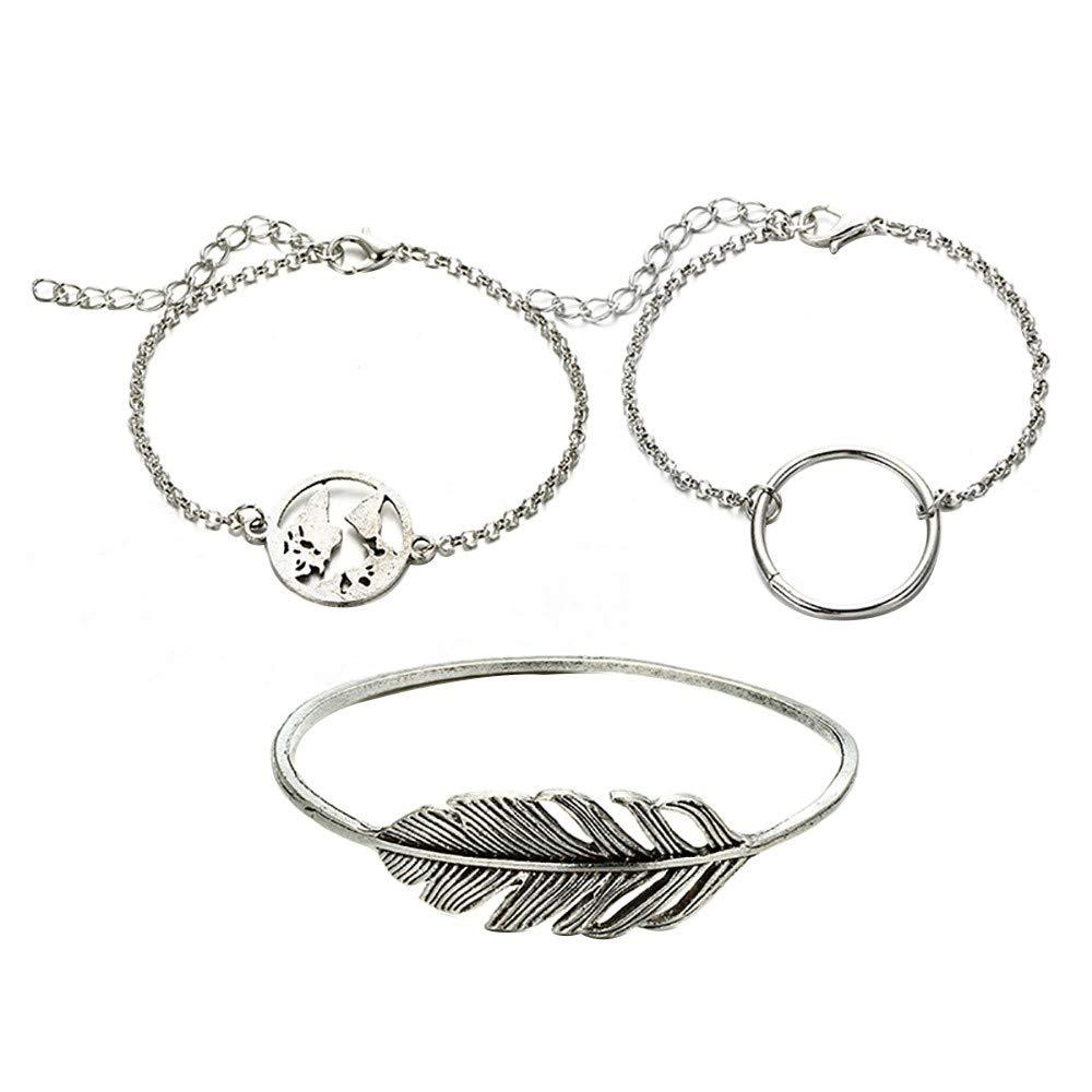 Swyss 3 Pcs Boho Friendship Bracelet Circle Round/Map/Feather Adjustable Bracelet Women Vintage Jewelry
