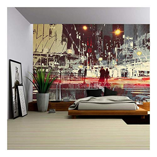 Decor Street Scene (wall26 - Illustration - night scene of modern city street,illustration painting - Removable Wall Mural | Self-adhesive Large Wallpaper - 100x144 inches)