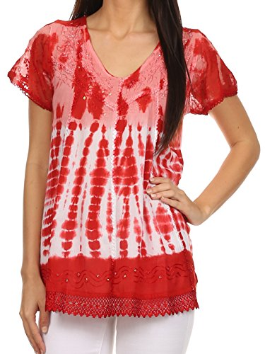 Sequin Tie Dye - Sakkas 776 - Violet Embroidery Tie Dye Sequin Accents Blouse/Top - Red - OS