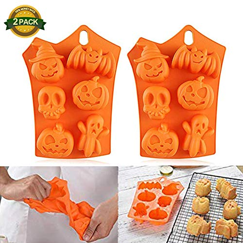 2 Pack Silicone Cupcake Liner Halloween Silicone Candy Ice Cube Mold Trays Reusable Muffin Pan Pastry Baking Mold Chocolates Candy/Jello/ Ice Mold -