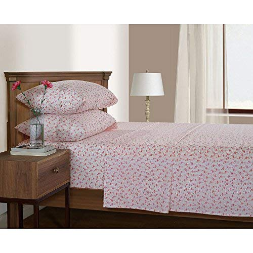 Serendipity 200-Thread-Count Printed Percale Sheet Set - Full Size, Flamingo ()
