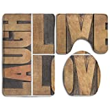 Hexu Live Laugh Love Macro Calligraphy Life Message Inspirational Digital Bathroom Rug 3 Piece Bath Mat Set Contour Rug And Lid Cover