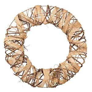 Darice Decorative Rustic Wreath with Burlap and Vine Accents - 16 inches 24