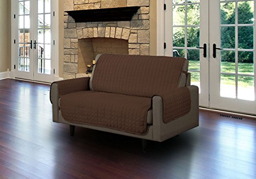 - Linen Store Quilted Microfiber Pet Furniture Protector Cover with Tucks and Straps, Brown, Loveseat