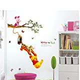 Gadfly- Tree Clouds and Winnie the Pooh Peel & Stick Nursery/baby Wall Sticker Decal