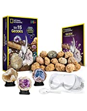 National Geographic Break Open 15 Premium Geodes - With Goggles, Detailed Learning Guide, 3 Display Stands, Great Stem Science Toy & Educational Gift
