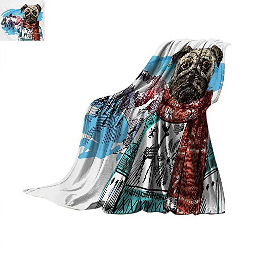 PugOffice Throwing blanketSketch Style Dog with Winter Clothes Scarf Sweater Mountains Background Open Sky ImageOffice Warm Blanket 60