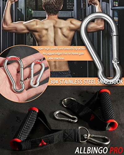 allbingo Ultimate Cable Machine Attachment Handles,Heavy Duty Resistance Bands Exercise Handle Grips with Large Clips for Cables Crossover LAT Pull Down Home Gym
