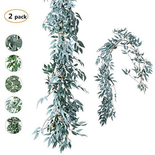 (TOPHOUSE 2 Pack 6 Feet Artificial Greenery Garland Faux Silk Hanging Willow Leaves Vines Wreath for Wedding Backdrop Wall Decor Flower Arrangement (Gray Willow Leaves Garland, 2))