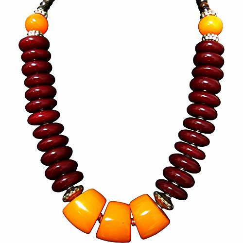 [Indian Ethnic Handmade Tribal Vintage Yellow and Maroon Resin Bead Short Choker Fashion Necklace 48cm] (1940s Dance Costumes)