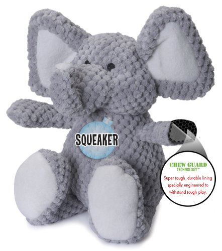 goDog Checkers Elephant With Chew Guard Technology Tough Plush Dog Toy, Grey, Small