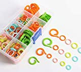 #4: SBYURE Colored Knit Knitting Stitch Markers Rings/Multi-Colored Crochet Stitch Markers Clip with Storage Box, Mixed 5 Sizes for Knitting DIY Craft (Mixed Size-300pcs)