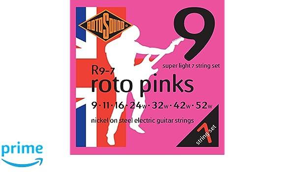 Rotosound R9-7 - Juego de cuerdas para guitarra eléctrica de níquel, 11 16 24 32 42 52: Amazon.es: Instrumentos musicales