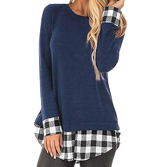 Camisas de otoño Invierno,Dragon868 2019 otoño Invierno Mujeres jóvenes Casual Plaid Patchwork Camisas de Polo túnica Blusa: Amazon.es: Ropa y accesorios