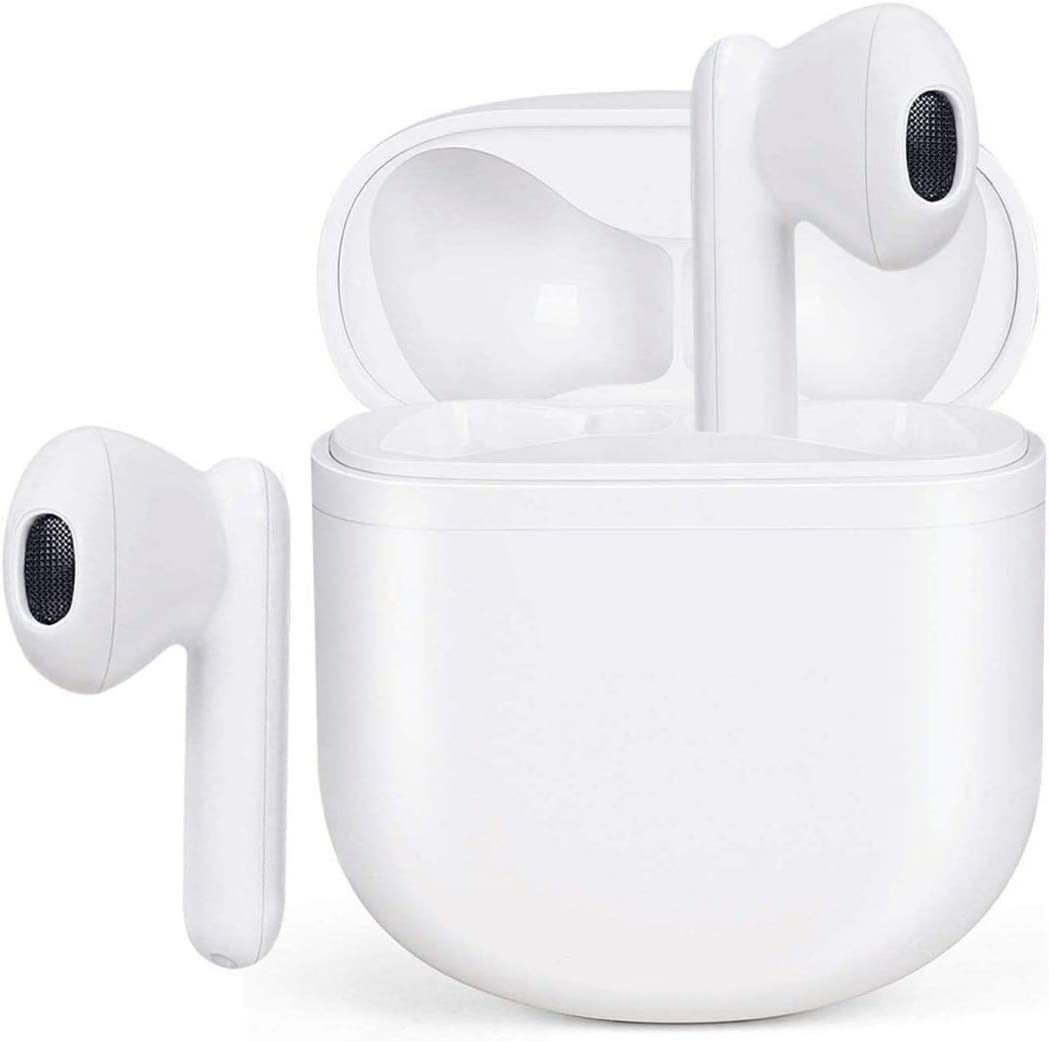 Wireless Earbuds Bluetooth 5.0 Headphones Waterproof Earphones with Charging Case 3D Stereo Earpods Air Buds in-Ear Ear Buds with Deep Bass Touch Control Headsets for Android/iPhone/Samsung (White)