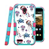 jelly fish phone cases - OneTouch Conquest Case, CASECREATOR[TM] For Alcatel OneTouch Conquest / 7046T (Boost Mobile) -- NATURAL TUFF Hybrid Rubber Hard Snap-on Case Pink Teal Blue-Watercolor Jelly