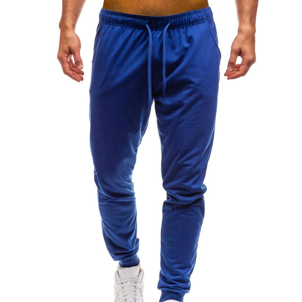 PASATO Men Pure Color Pocket Overalls Casual Pocket Sport Work Casual Trouser Classic Cotton Pants(Blue, L)