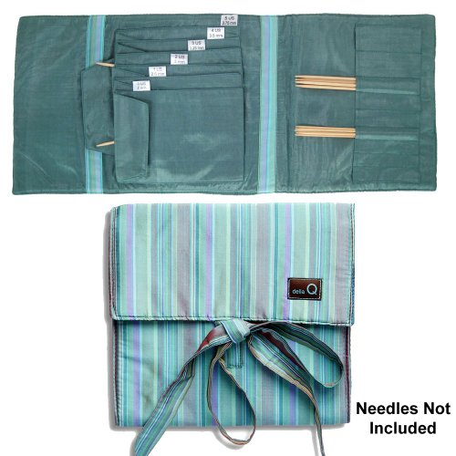 della Q Combo Sock Knitting Case for Double Point & Circular Knitting Needles; 017 Seafoam Stripes 135-2-017 by della Q