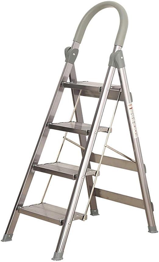 LINrxl Ligero De Aluminio Madera Madera 4 Escalera Escalera Plegable Taburete Escaleras Escalera De Escalera Antideslizante Antideslizante Antideslizante Para Hogar Y Cocina Capacidad de 330 libras Ca: Amazon.es: Hogar