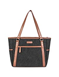 """Stylish 15.6"""" Laptop Tote Bag for Women, Shoulder Laptop Tote Bag BriefBag with Zipper for Business Travel Office School Ladies Girls Use, Fits 13"""",14"""",15.6"""" Laptop (Black)"""