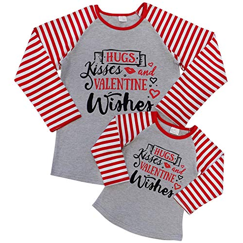 Mom Mommy & Me T-Shirt - Toddler Girls Teens Moms - Matching Mom Daughter Outfits (Child 3T (S), Valentine Wishes)