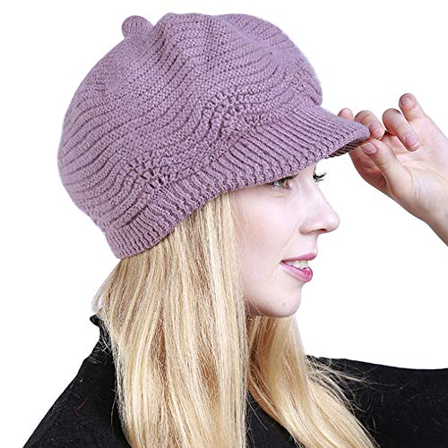 Andy&Esther Newsboy Cap Women's Winter Warm Hat Cable Knit Slouchy Beanie Newsboy Cap Visor Beret (Light Purple, Free)