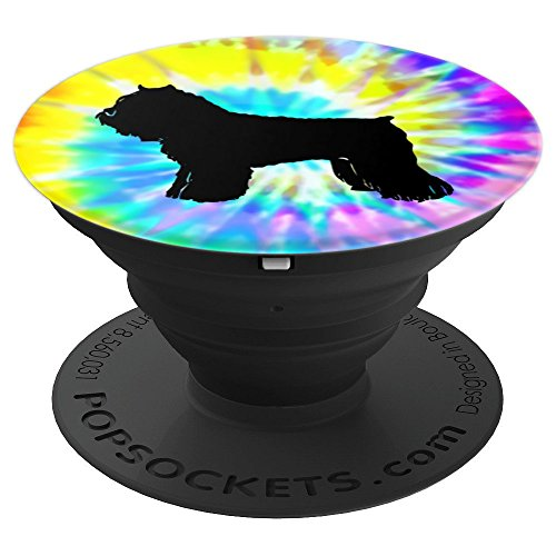Bouvier de Flanders Dog Silhouette with Puppy Tie Dye Prints - PopSockets Grip and Stand for Phones and Tablets