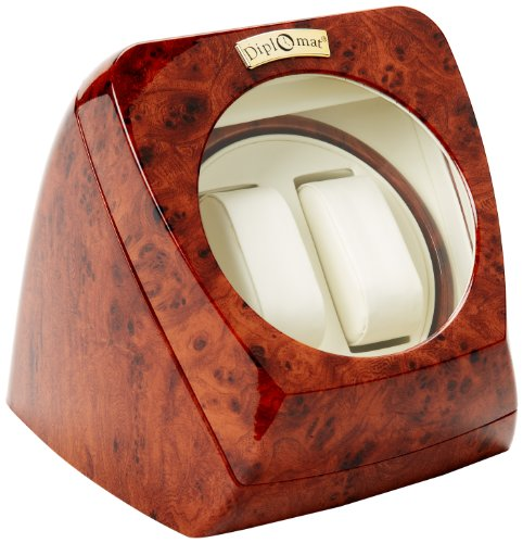 Diplomat Burl Wood Double Watch Winder with Leather Interior and Multi-Setting Smart IC Timer -