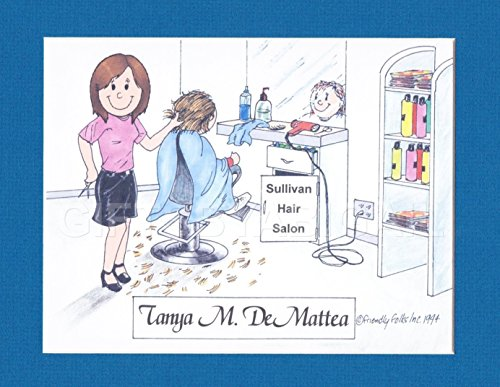 Hair Dresser Gift Personalized Custom Cartoon Print 8x10, 9x12 Magnet or Keychain by giftsbyabigail