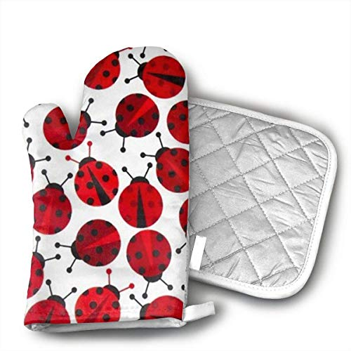 NoveltyGloves Red Ladybugs Oven Mitts,Professional Heat Resistant Microwave BBQ Oven Insulation Thickening Cotton Gloves Baking Pot Mitts Soft Inner Lining Kitchen Cooking (Oven Mitt Ladybug)