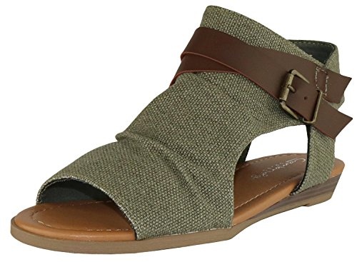 Cambridge Select Womens Croisscross Strappy Buckle Cutout Gestapelde Sandalen Met Sleehak Olijf