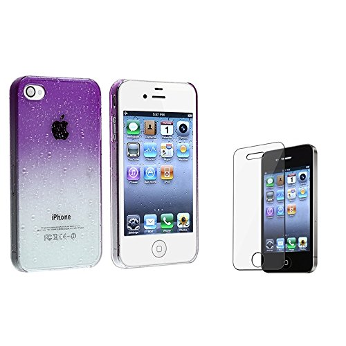Clear-Purple-Waterdrop-Snap-on-Case-for-Apple-iPhone-4-4S-Bonus-Clear-LCD-Screen-Protector-Included
