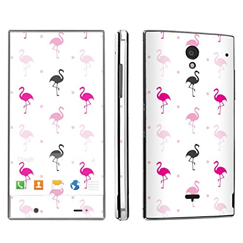 Sharp Aquos Crystal Phone Skin - [SkinGuardz] Full Body Scratch Proof Vinyl Decal Sticker with [WallPaper] - [White Flamingo] for Sharp Aquos (Sharp Flamingo)