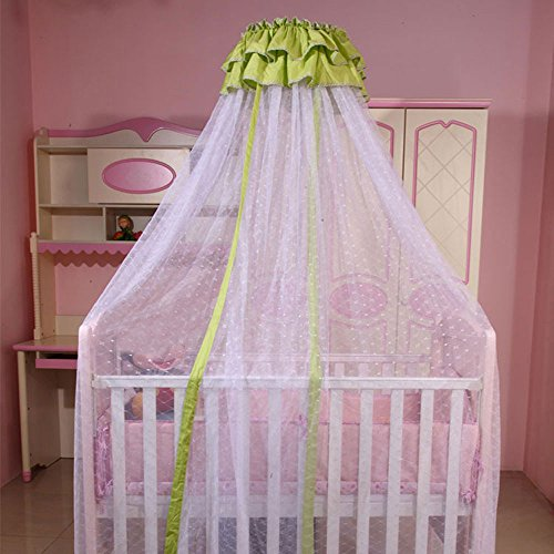 RuiHome Baby Crib Mosquito Net Bed Canopy with Lace Decor for Toddler Boys Girls
