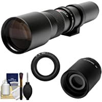 Rokinon 500mm f/8 Telephoto Lens (T Mount) with 2x Teleconverter (=1000mm) + Cleaning Kit for Nikon 1 J1, J2 & V1 Digital Cameras