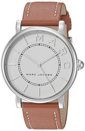 Marc Jacobs Women's Roxy Stainless Steel Japanese-Quartz Watch with Leather Calfskin Strap, Brown, 18 (Model: MJ1571)