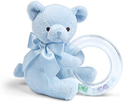 Bearington Baby Huggie Plush Stuffed Animal Blue Teddy Bear Soft Ring Rattle,