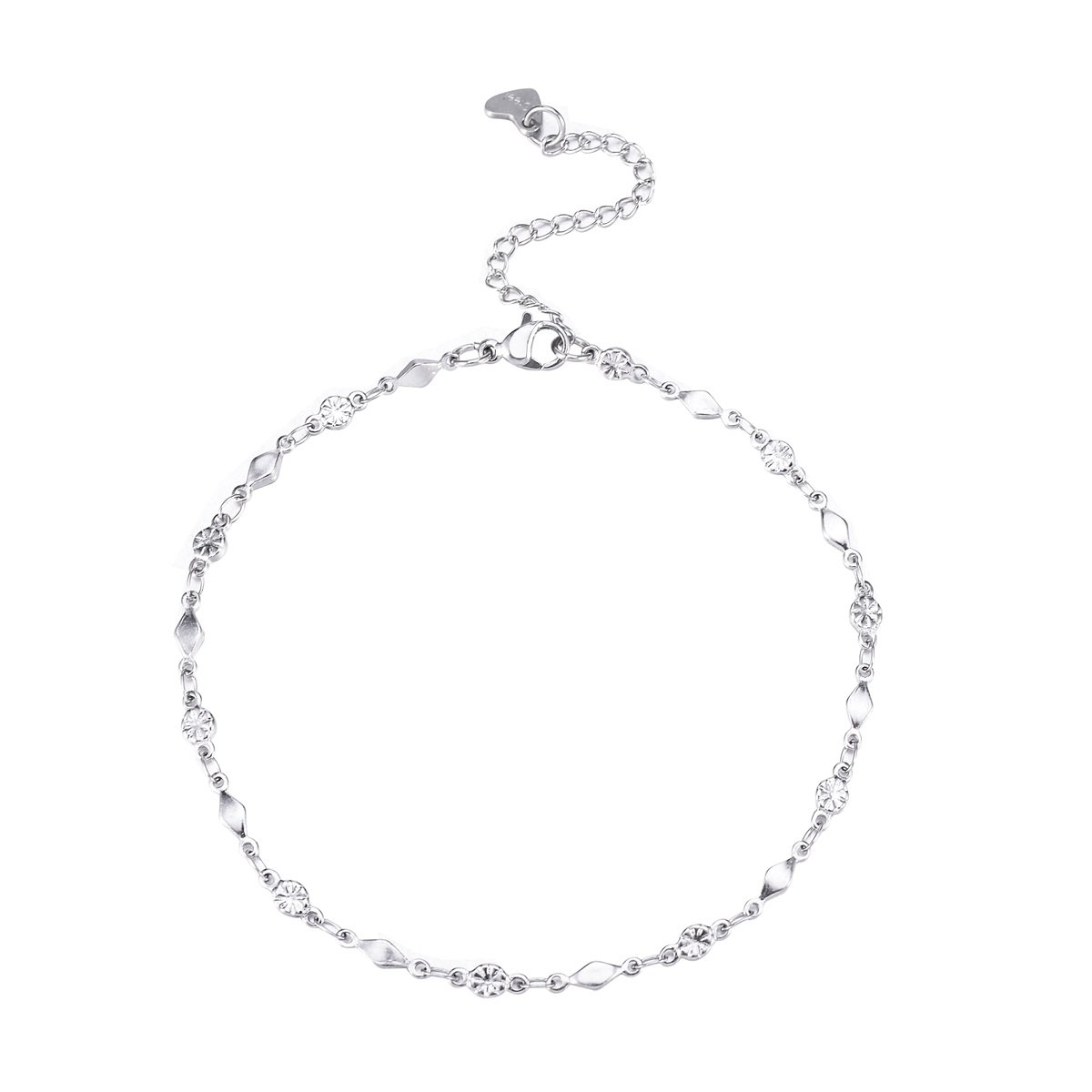 Valyria Silver Tone Stainless Steel Lobster Clasp Anklet 8'+2' for Women VALYRIA0602B106659