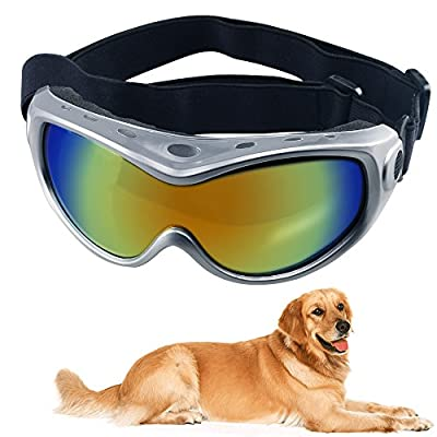 HelloPet Dog Goggles Dog Sunglasses Glasses for Dogs Dog Ski Goggles with UV Protection Pet Sunglasses with Adjustable Strap for Travel, Skiing and Anti-Fog by HelloPet