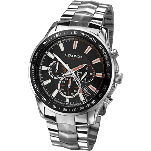 63b8ae6e07 Sekonda Chronograph Black Dial Stainless Steel Bracelet Gents Watch 3507:  Babar: Amazon.co.uk: Watches