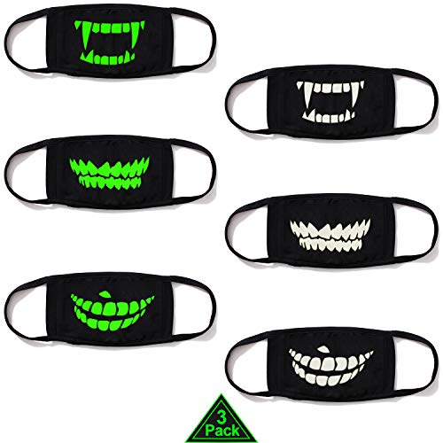 (heartybay Cotton Mask 2 Pack Unisex Luminous Teeth Style Mouth Mask for Kids Teens Men Women Lovers, Fog Respirator Anti Flu and Dust Protection Pollution Germs Allergens Windproof Half Face)
